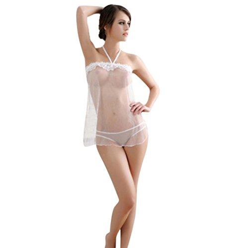 Frauen Sexy Dessous, Hasee New Fashion Lace Halfter Nachtwäsche Female Solide Verbandkleid Damen G-String Set Unterwäsche (Weiß) (Voll-leder-teddy)