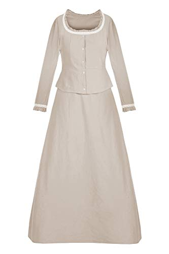 (Pxmoda Damen Halloween Renaissance Mittelalterliche Cosplay Gothic Maid Kostüm Vintage Cosplay Retro Langes Kleid (S, Khaki))