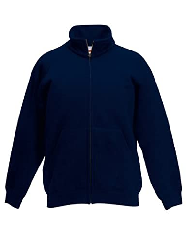 Fruit Of The Loom Childrens/Kids Unisex Poly-Cotton Sweat Jacket (14-15) (Deep Navy)