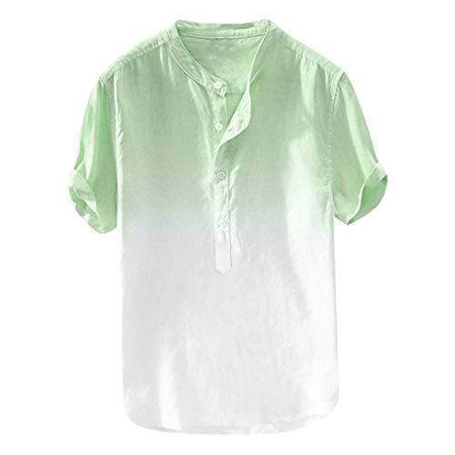 Sommer Herren Tops, Sumeiwilly cool und dünn atmungsaktiv Kragen hängen gefärbt Farbverlauf Baumwollhemd moderner Kurzarm Casual Basic t-Shirt top Bluse herrenhemd Sale glatt hochwertige - Gefärbtes T-shirt