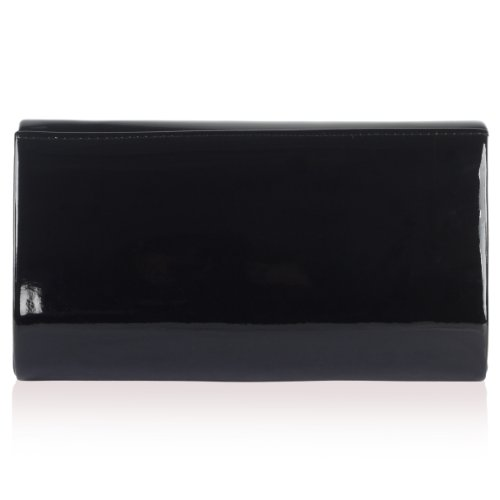 Pochette da donna rigida custodia catena tracolla da sera metal Trim party bag Black