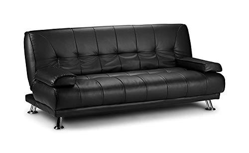 Global marketing divano letto in ecopelle similpelle nero 3 posti reclinabile 2 cuscini