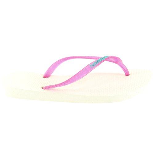 Damen Havaianas Slim Logo Strand Flip Flops Sommer Urlaub Sandale Weiß