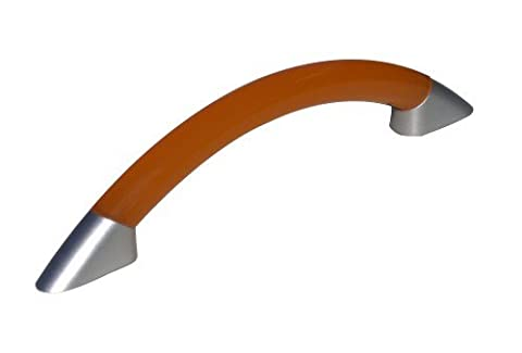 1 x Orange 96mm 'D' handle with chrome effect feet cupboard cabinet pull by Swish