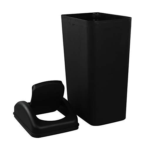 Ikando 14 L Papelera Cubo de Basura Basura Basurero Reciclaje plástico, Color Negro, 1 Paquete