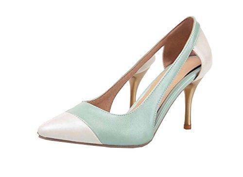 Frühjahr neu PU Shallow Mund Schuhe mit hohen Absätzen Blau
