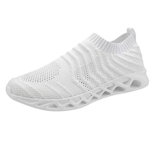 AIni Herren Schuhe Beiläufiges Mode 2019 Neuer Heißer Summer Mesh Breathable Sneakers Leichte, Lässige Schlüpfen Laufschuhe Freizeitschuhe Partyschuhe (47,Weiß)