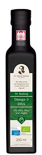Dr. Budwig Omega-3 DHA - Das Original - Eine Mischung aus Leinöl mit DHA aus natürlichem Algenöl für den Erhalt der normalen Herz-, Hirn- und Augenfunktion, 250 ml