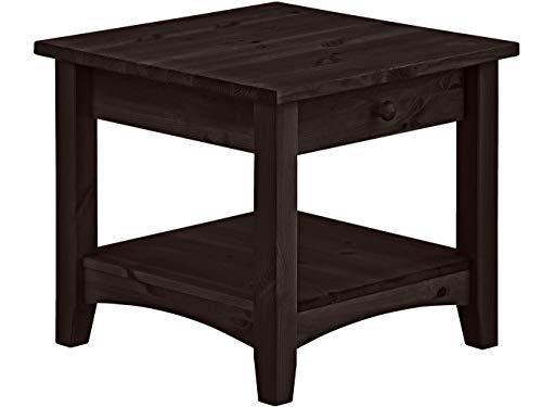 Loft24 Chicago Wohnzimmertisch mit Schublade Couchtisch Kolonialstil Beistelltisch Sofatisch Nachttisch Kiefer massiv Holz (Dunkelbraun, 50 x 50 x 45 cm)