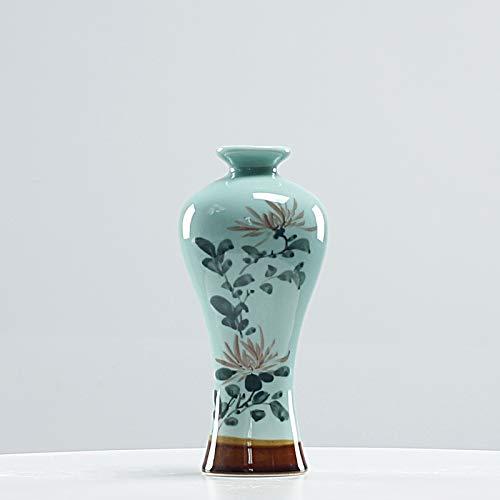 Deko Skulpturen Statue Figur Kreatives Seladon Handgemaltes Modernes Neues Chinesisches Keramisches Vasenwohnzimmer Fernsehweinkabinett Verandahauptdekorationverzierungen, Seladon Handgemalte Schönhei