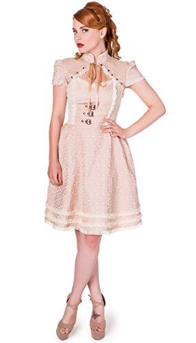 """Vestito, colore: beige, """"steampunk"""", con cintura di sicurezza, effetto Bolero Banned rosa XL"""