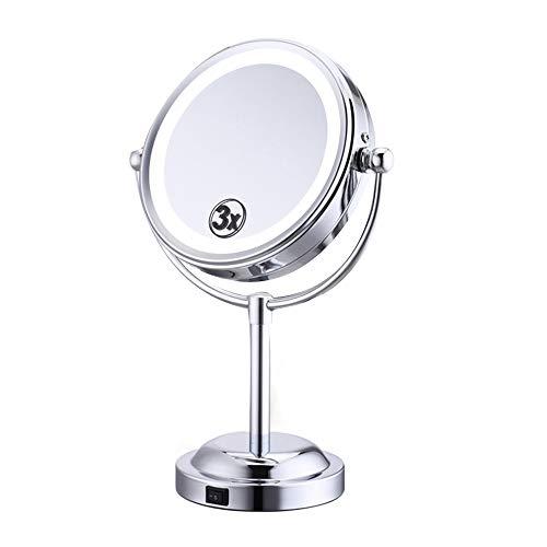 R Lighted Schminkspiegel Vergrößerung Vanity 3X Vergrößerung 360 Drehung Freistehend Kleine Plattform Schwenkbar Rasierspiegel Schwanenhals - Schwanenhals Vanity Licht