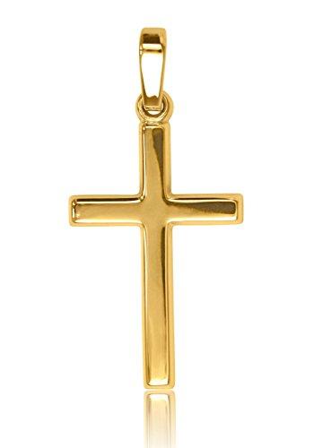 MyGold Kreuz Anhänger (Ohne Kette) Gelbgold 750 Gold (18 Karat) Glanz 25mm x 12mm Schlicht Goldkreuz Kreuzkette Halskette Goldkette Geschenk Für Männer Frauen Weihnachtsgeschenk Landour V0011249