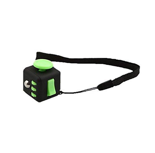 Preisvergleich Produktbild HENGSONG Zappeln Cube Würfel entlastet Stress und Angst für Kinder und Erwachsene Spielzeug Geschenke (Grünschwarz)