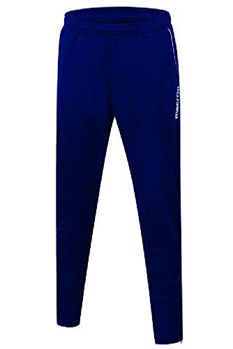 Pantalone Tuta da Ginnastica Sportivo Uomo Macron Abydos Fondo Stretto con Zip, Colore: Blu Navy, Taglia: M