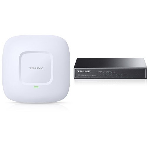 TP-LINK EAP110 Access Point Wireless N 300Mbps professionale, PoE passivo, Predisposizione al montaggio a soffitto, Captive portal, Funzione QoS + TP-Link TL-SF1008P, 8-Port 10/100 Mbps Desktop Switch with 4-Port PoE, Colore Nero