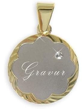 Namens-Schildchen Anhänger echt 14 Karat Gold 585 (Art 201012) GRATIS-SOFORT-GRAVUR