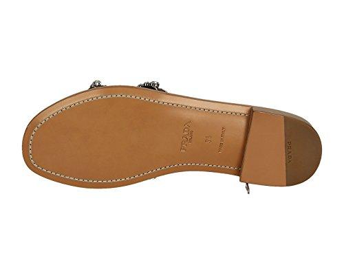 Nu-pieds Prada femme en cuir marron et cristaux - Code modèle: 1XX191 248 F0562 Marron