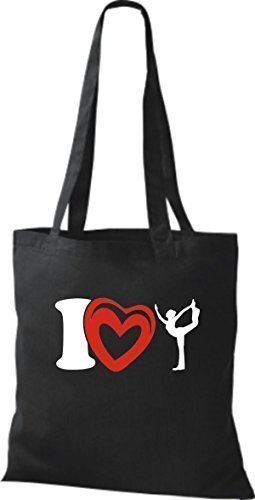 ShirtInStyle Sacs en tissu Sac en coton I Love Yogo Yoga Sport Gymnastique - Orange Noir