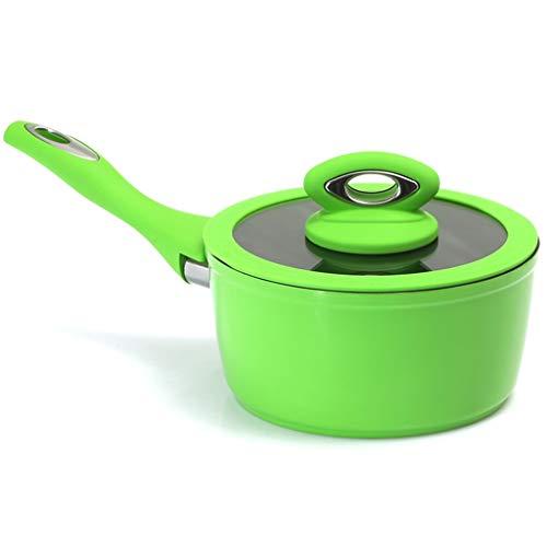 Küchengeschirr Antihaft-Suppentopf Induktionsherd Einhandkochende Milchpfanne Babynahrung Ergänzung 18cm (Farbe : Grün)