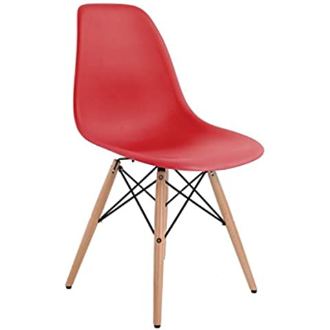 4 X Charles Ray Eames Eiffel Inspired DSW Side Living Lounge Dining Room Office Chair Set of 4 Chairs (Red) by AHOC