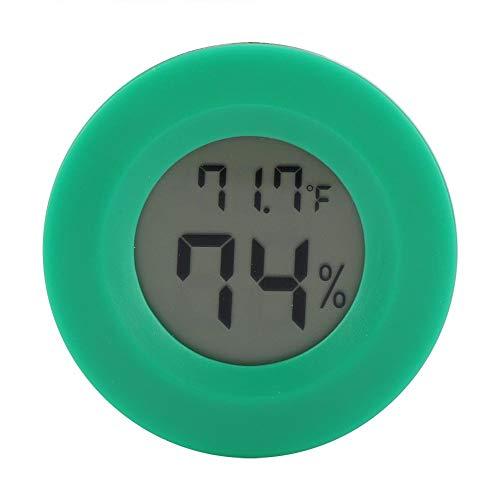 Mini Thermometer Runde Form Temperatur Digital LCD Monitor Innenraum Runde Luftfeuchtigkeit Temperaturanzeige für Humidore Hause Gewächshaus Babyroom Reptile Inkubator (Green)