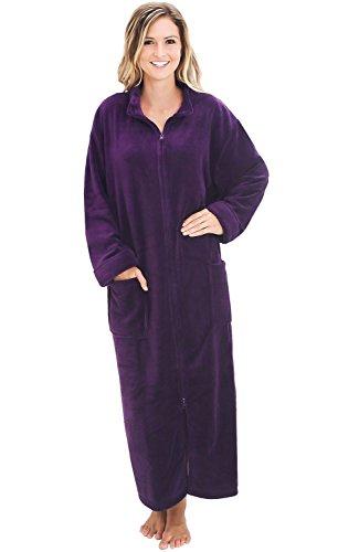 Alexander Del Rossa Damen Bademantel, Fleece, mit Reißverschluss - Violett - Small/Medium - Vorne Damen Fleece-bademäntel Reißverschluss