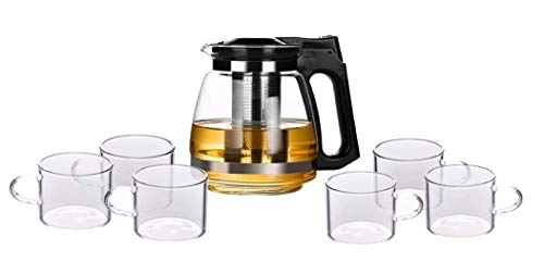 Homies, Heat-Resistant Glass Tea Set 7-Piece Cold hot Water teapot, Kettle *1 pcs and Glass Water Cup *6pcs