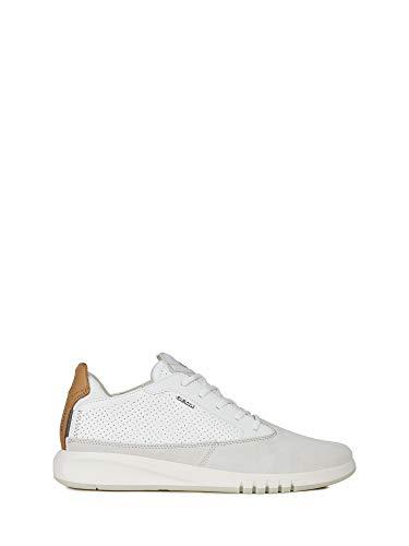 Geox Herren Low-Top Sneaker AERANTIS, Männer Sneaker,Halbschuh,Sportschuh,Schnürschuh,atmungsaktiv,Papyrus/White,40 EU / 6.5 UK