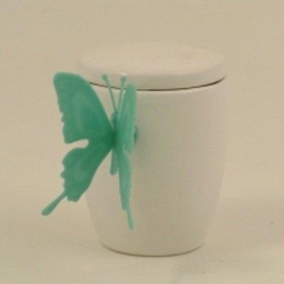 Cuorematto bomboniere solidali 2015 cuorfarfalla tiffany barattolino in ceramica 6,5x6,5 cm farfalla in silicone
