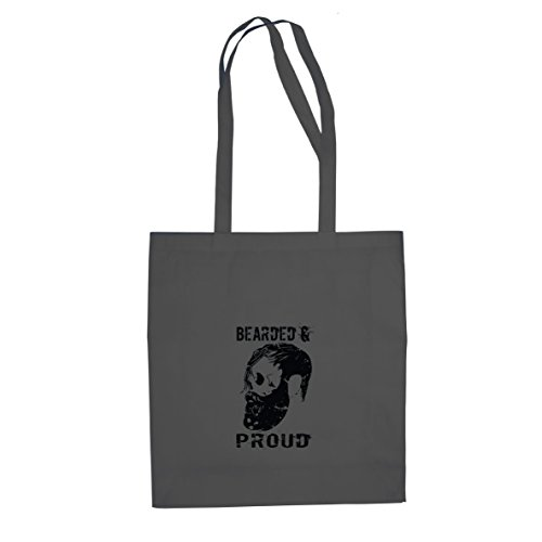 Bearded and Proud - Stofftasche / Beutel, Farbe: grau