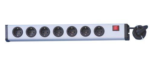 Ehmann 0201e60072301 Universal Steckdosenleiste 7-fach plus, silber-schwarz