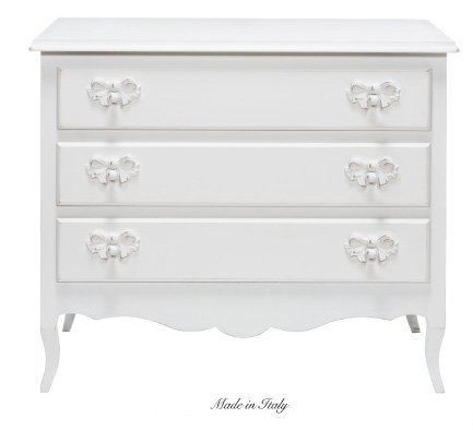 Com• a tre cassetti in legno stile vintage con pomelli a forma di fiocco disponibile in diverse rifiniture L'ARTE DI NACCHI 4970F/BG