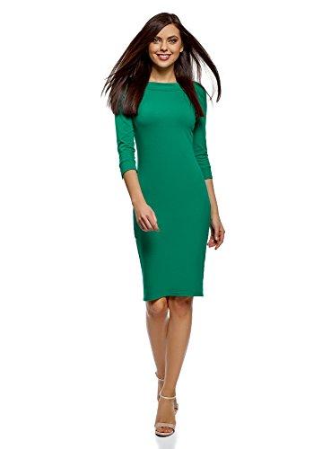 oodji Ultra Damen Tailliertes Kleid mit U-Boot-Ausschnitt, Grün, DE 36 / EU 38 / S