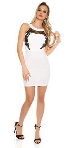 Neck Minikleid mit Mesh und Stickerei Weiß