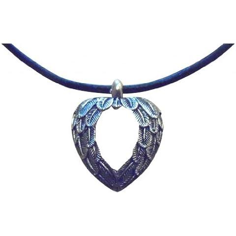 Ángel de la guarda con aletas ShoreThing/alas colgante de corazón piel de color negro collar con colgante en forma: 45,72 cm pero también se pueden hecha a medida negro/plateado