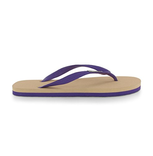 Tongs Feelfine'z: Provence, beige - violet, Tongs caoutchouc nature Noir