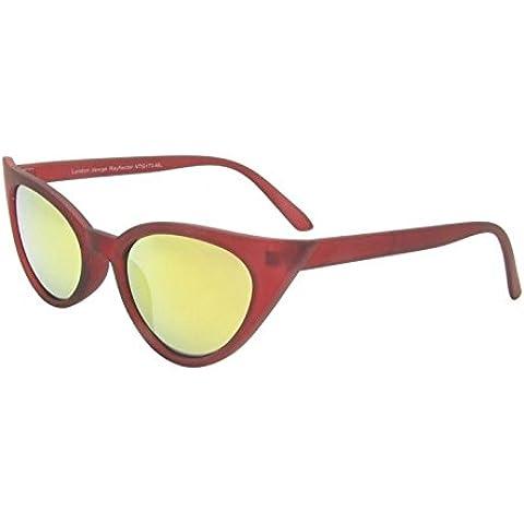 Scuro rosso Rockabilly 50Donna Occhio di gatto occhiali da sole stile retrò con Sharp lenti Revo