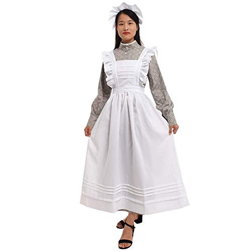Adult Viktorianischen Kostüm - GRACEART Damen-Kleid, viktorianisches Dienstmädchen-Kostüm mit Schürze, 100% Baumwolle - - Large