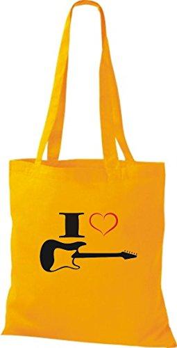 Shirtstown Stoffbeutel Musik I love E-Gitarre Goldgelb