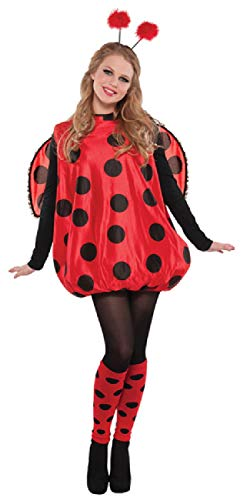 Ladies Red & Black Spotty Ladybird Ladybug Mini Beast Carnival Festival 4 PC Fancy Dress Costume Outfit With ()