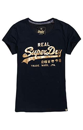 Superdry Damen Pullunder Vintage Logo Metalwork Entry T, Blau (Eclipse Navy 98T), X-Large (Herstellergröße: 16)