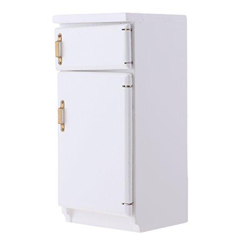 MagiDeal 1:12 Puppenhaus Küche Miniatur Möbel Kühlschrank aus Holz - Weiß