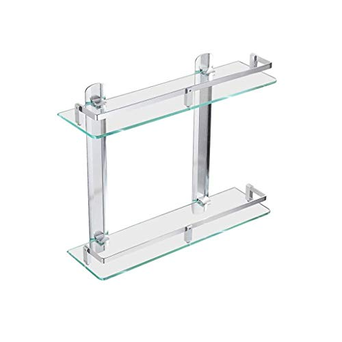 SXQK Floating Shelf Double Tempered Glass Shelf, Badregal, Punch-Free Wandhalterung Spiegel Frontrahmen Mit Space Aluminium Pleuel Storage Shelf Shelf Rack - Aluminium-storage-shelf