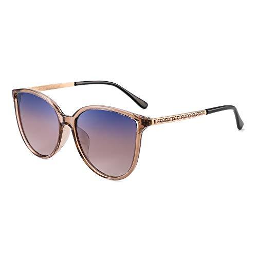 JIM HALO Katzenauge Polarisiert Sonnenbrillen für Damen Vintage Runden Oversized Gläser(Transparenter Braun Rahmen/Polarisierte Gradient Linse)