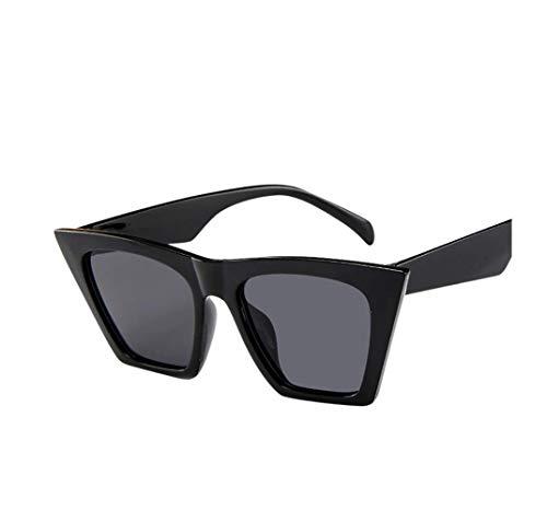 Hniunew Oversized Übergroße Dame Sonnenbrille Integrierte BrilleTrapez Sonnenbrillen große Damen Retro Frame Sonnenbrille Trend Square Sonnenbrillen Classic Gradient Retro Brille Frauen (Schwarz 2)