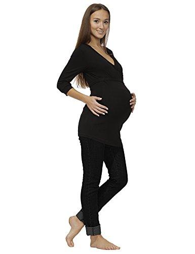Umstandsjeans Jeans Umstand Hose Jeanshose lang Stretch Bauch Denim jeans-schwarz 42