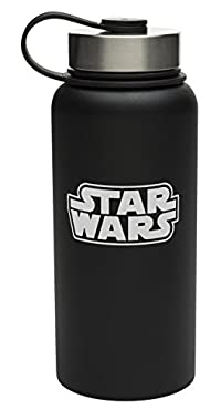 Zak! Designs Vacuum Insulated Bottle with Screw-on Lid and Star Wars Graphics, Powder Coated Stainless Steel, Leak-proof Double Wall Construction for Hot & Cold Drinks, BPA-free, 32oz.