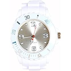 Premium WHITE SILICONE WATCH XL Fashion UNISEX Women's Watch Wristwatch Men's WATCH Sport STYLE Trend Watch Thick In The Fashion Quality Watches Top Quality Absolute Must Have! No Cheap Colour In White From Avcibase