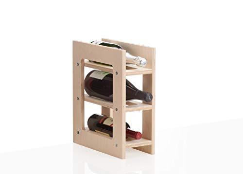 Xamonia WR1-3F Weinregal, Weinflaschenhalter aus Holz Multiplex, stapelbar und erweiterbar im...